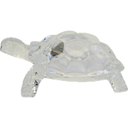 Large Vintage  Clear Glass Turtle Tortoise Paperweight Figurine