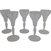 Set of 5 Crystal Port Wine Cordials Sherry Glasses with Air Bubble in Stem