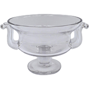 19th  Century Large Impressive Chrystal Footed Bowl Centerpiece Compote with Applied Side Hand
