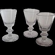19th Century Blown Glass Dram Wine Sherry Glasses Three (3)