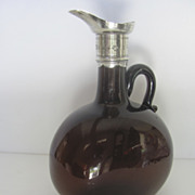 English 19th Century Spirit Flagon with Silver plate Neck