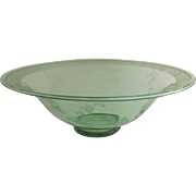 """Large Depression Glass Green Footed Bowl 12"""""""