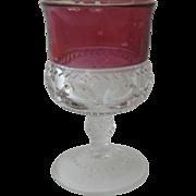 Vintage Red Clear Stemmed Wine Glass