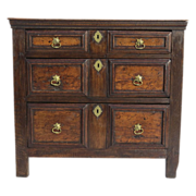 English Small Chest of Drawers with Ink Work Decoration