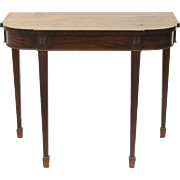 English Mahogany D Shaped Side Table Tapering Fluted Legs Ending in Spade Foot.