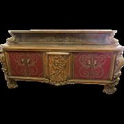Large Renaissance Revival Side Board Buffet Leather Doors Warriors Castles