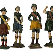 Folk Art Polychrome Carvings Spanish Conquistadors 19th Century