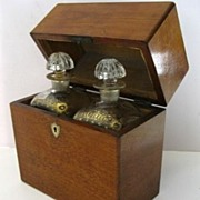 English Mahogany Decanter Box with Two Gilt Decorated Case Bottles Decanters