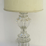 Clear Hand Blown Murano Glass Lamp for Marbro