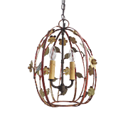 Mid Century Tole Iron Painted Two Light Lantern Chandelier  with Floral Motif.