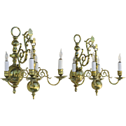 Pair of English Fine Quality Antiques Brass Hanging Sconces with the Original Back Brackets.