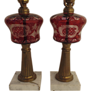 Pair of Red Cut to Clear Oil Lamps (Electrified) with Marble Bases