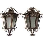 Pair of Wrought Iron 1950's Mexican Street Lanterns