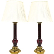 Pair of Vintage William IV Style Glass Column Cranberry Ruby Red Table Lamps by Vaughan Design