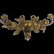 "Very Large Mid Century Italian Gilt Flower Wall Sconce Hollywood Regency 56"" Wide"