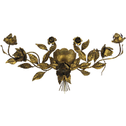 "Very Large Mid Century Italian Gilt Flower Wall Sconce Hollywood Regency 56"" Wide"