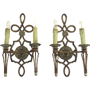 Pair of Vintage Cast Iron Sconces with Painted Finish and Rosette Motif
