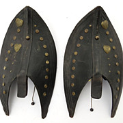 Leather and Brass Horse Tack Sconces B.945