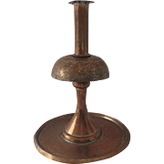 Vintage 1940's Persian Tinned Copper Engraved Large Candlestick Iran