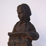 SOLD Cast Iron Figure a Peasant Woman Selling Fruit in Market