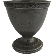 19th Century Pewter European Cup Goblet Chalice Leaf Motif
