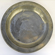 Large English Pewter Charger 18th Century Owner's Initials