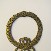 Large French 19th Century Furniture Mount Wreath Ribbon