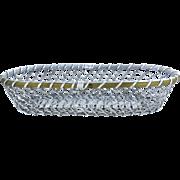 Vintage Woven Silver Plate Long Wire Bread Basket