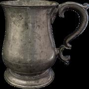 SOLD Large Pewter Tankard Mug James Yates Quart c 1850