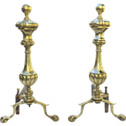 Pair of Brass and Iron Andirons Sheffield - New York