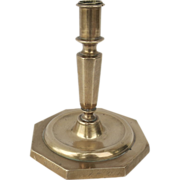 Spanish Brass Candlestick Octagonal Base Late 16th Early 17th Century