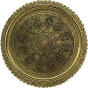 "Vintage Older Persian Iranian Iran Brass Engraved Tray 35"" Diameter"