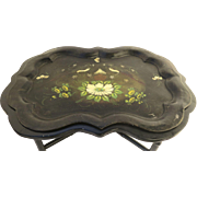 American Tole Tray with Painted and Gilt Motif  Shaped Edge.
