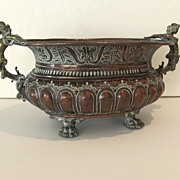 Wonderful 18th Century Copper Wine Cooler Jardiniere with Cast Figural Woman Handles & Paw Fee