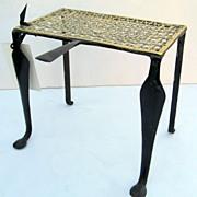 English Brass Fireplace Trivet with Wonderful Pierced Top