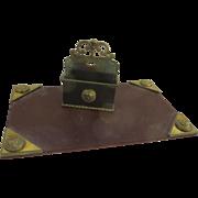 Vintage Brass Women's Mask Head Desk Blotter and Letter Stand