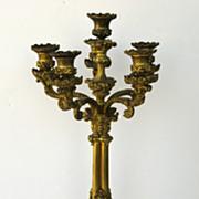 French Gilt Brass Candelabra with Wonderful Detail