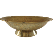 """Vintage Brass Chinese Footed Bowl Marked """"China"""""""