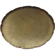 Vintage Engraved Round Brass Serving Tray Chinese China