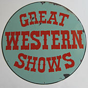 """Great Western Shows"" Vintage Enamel Sign"