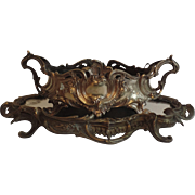French c 1900 Brass Plated Mirrored Rococo Plateau and Jardiniere