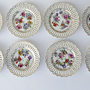 Set of 8 Pierced Dresden Flower Plates 8 1/4""