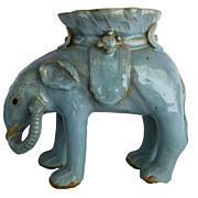 P.1109 Vintage Chinese Glaze Terra Cotta Elephant Vase.