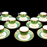 Minton for Tiffany & Co Demitasse Set of Eight Green Gilt