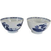 Pair of English Blue and White Handleless Tea Cups c1800 Chinoiserie