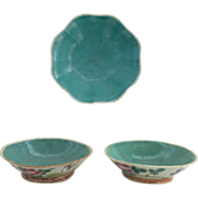 Three 19th Century Famille Rose Bulb Bowls Aqua Interior