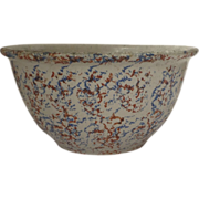 Large Country Sponge Ware Bowl 19th century
