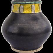Large Art Pottery Vase Black Yellow