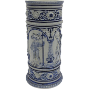 Late 19th Century German Pottery Ceramic Blue Gray Stoneware Umbrella Stand Elizabethan