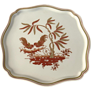 SOLD Vintage Richard Ginori Square Porcelain Tray Siena Sienna Pattern Roosters Rust and Gold